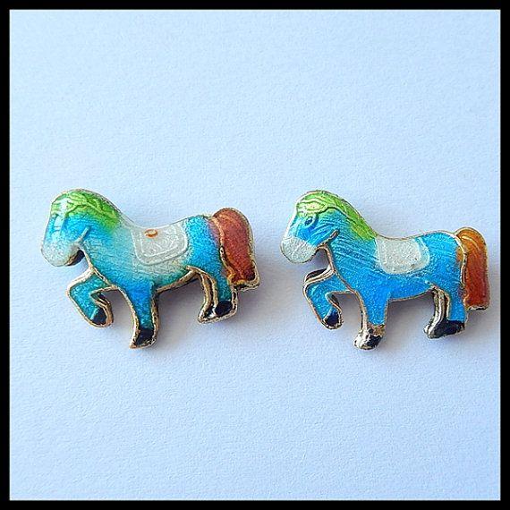 2 PCS BlueRedWhite Cloisonne Horse by Girljewelrybox on Etsy