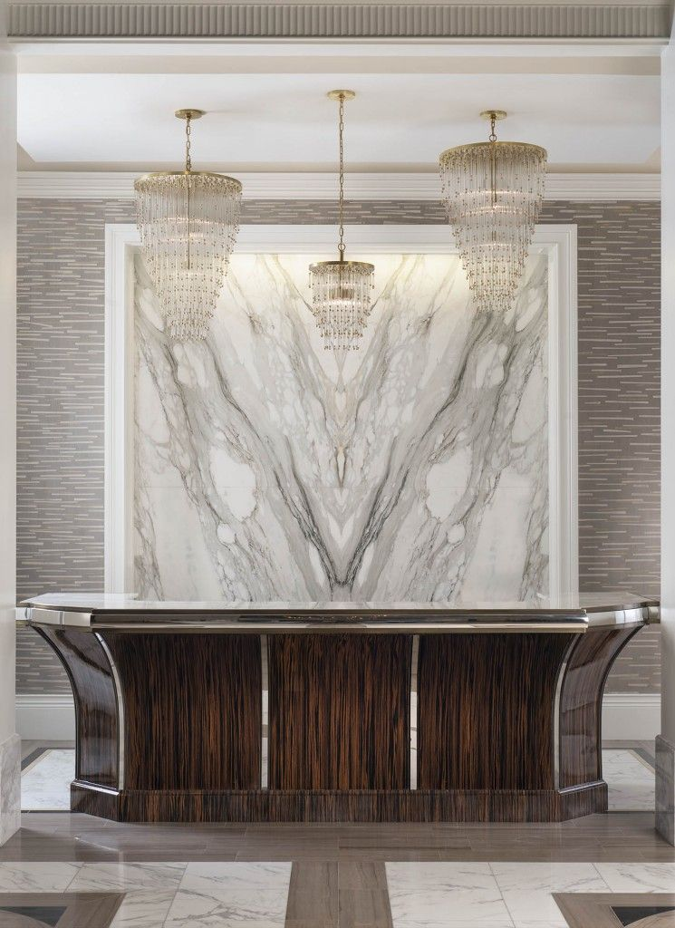 Book Matched Marble Statement Wall Lobby Design Hotel