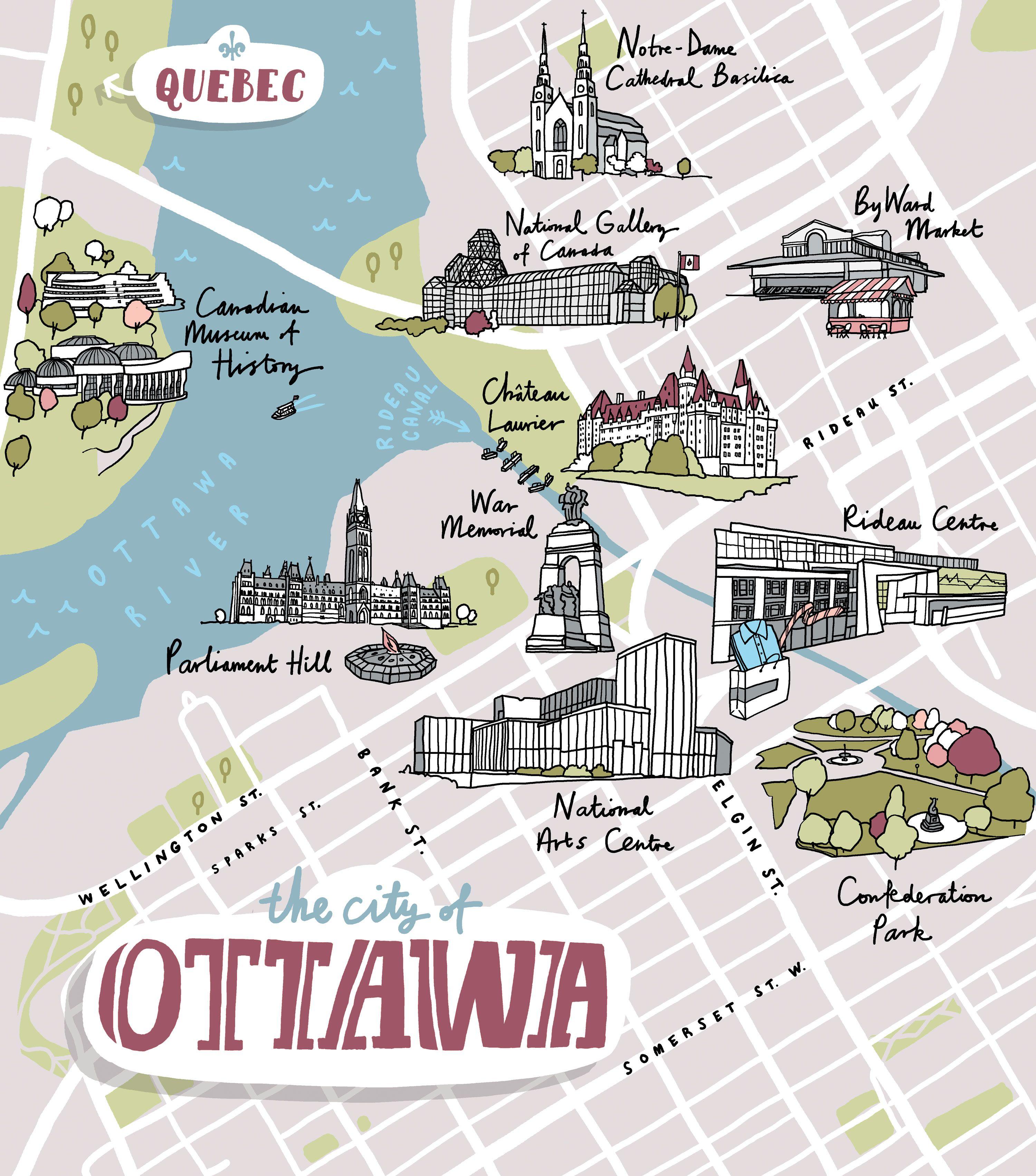 A Map Of Ottawa For Harry Magazine Map Illustration Pinterest