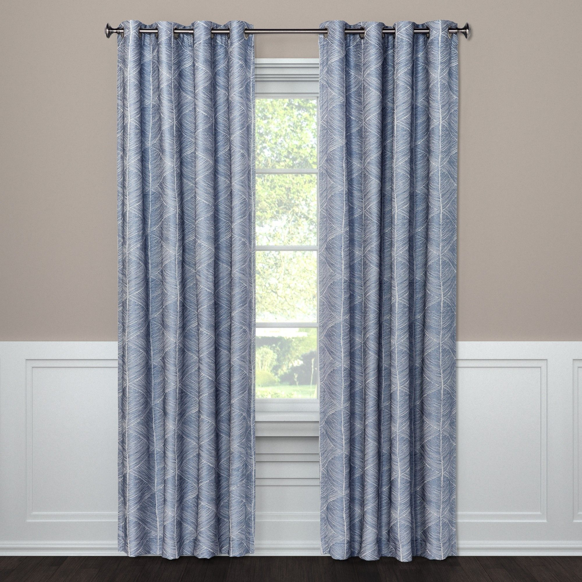 Blackout Curtain Panel Modern Stroke Blue 108 Project 62