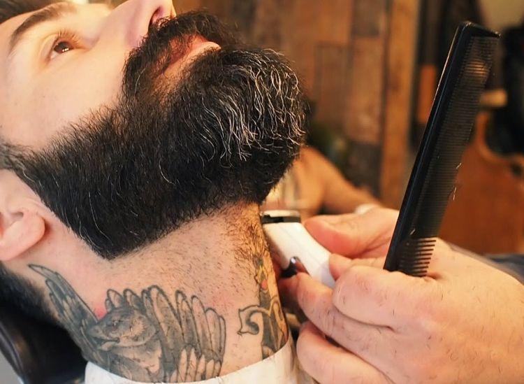 Vollbart Hals rasieren konturen untere linie | Vollbart
