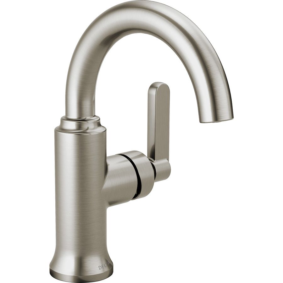 bathroom alux nickel faucet delta brushed pin single spotshield handle hole