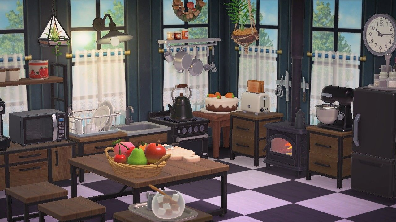 ACNH - Kitchen in 2020 | Animal crossing game, Animal ... on Animal Crossing Kitchen Ideas  id=81988