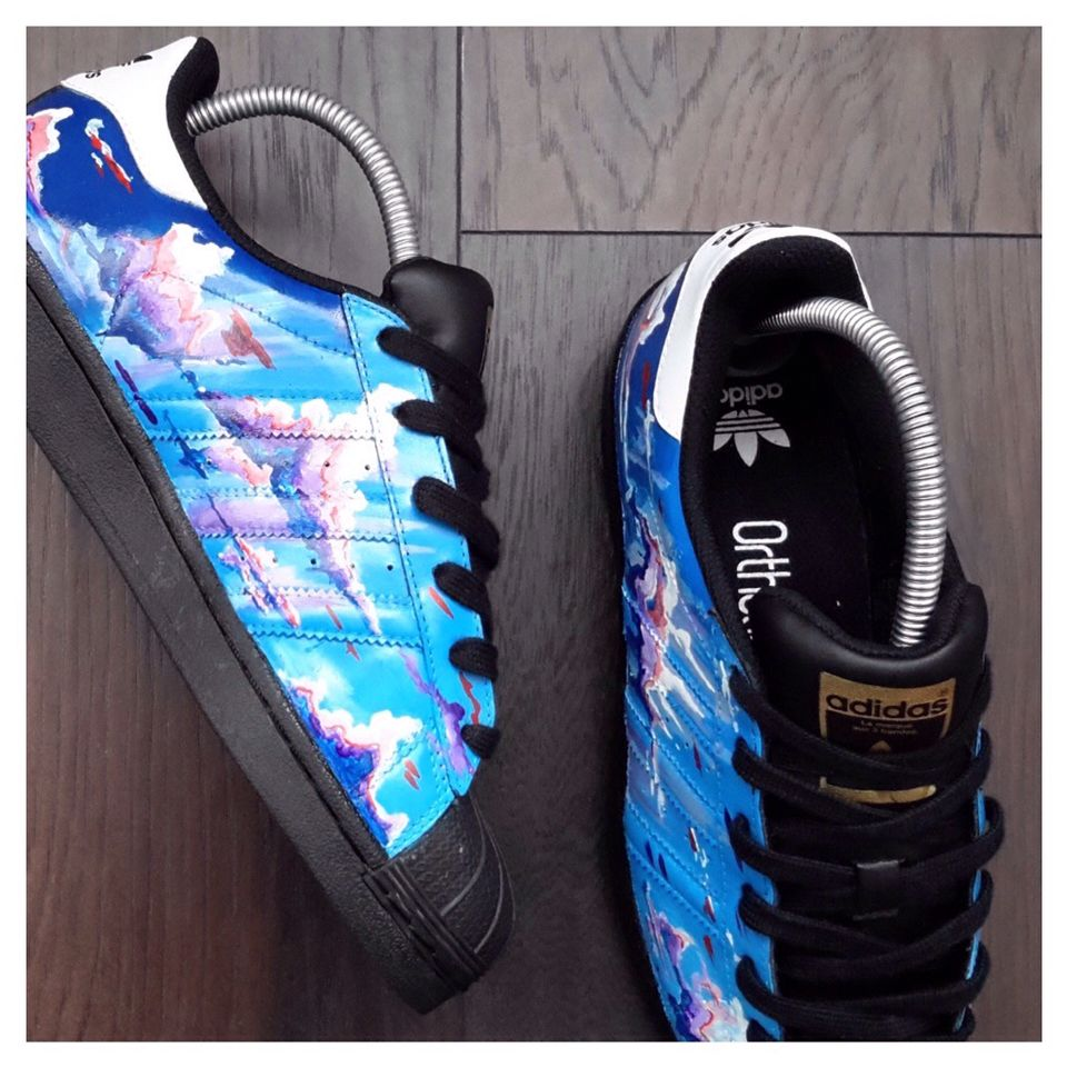 custom hand painted Adidas Sky scene shell toes for sale! Available for  £140 c59f2b4f0