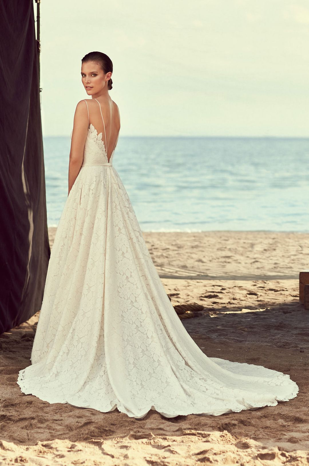Full lace skirt wedding dress style mikaella bridal