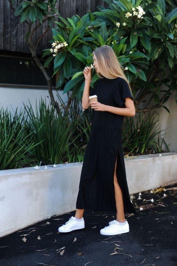 Side Slit Maxi Tee Dress #adidasclothes