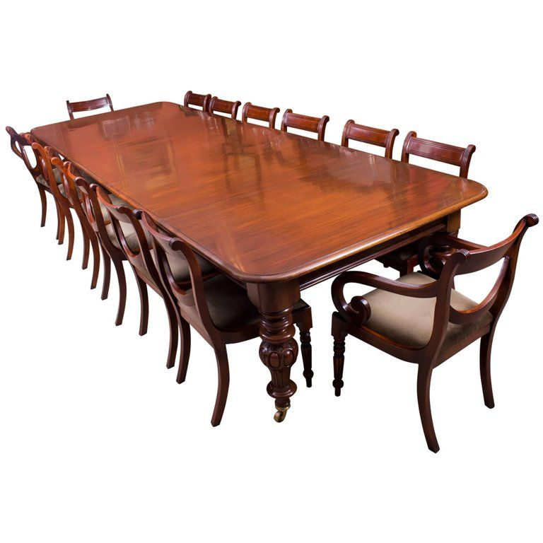 19th Century Victorian Flame Mahogany Dining Table And 14 Chairs