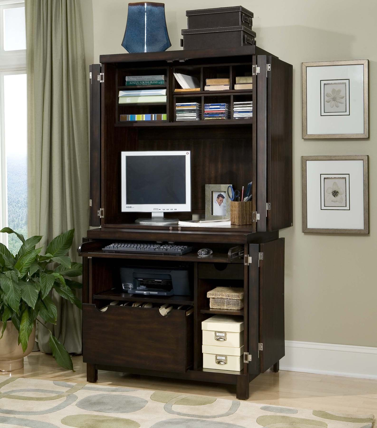 Home styles 5536 190 city chic espresso compact computer desk hutch home - Computer armoires for small spaces property ...