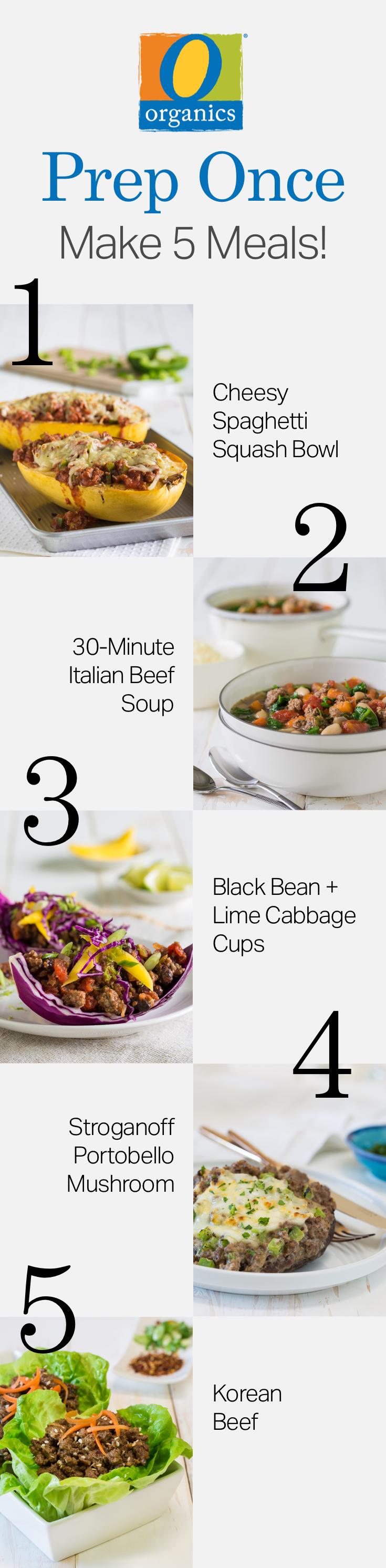 Working these five tasty and healthy O Organics® beef recipes into your weeknight meal rotation is easy when you meal prep!