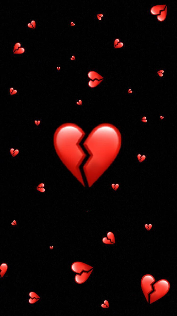 Hintergrund Broken Heart Brokenheart Red Broken Heart Wallpaper Emoji Wallpaper Cute Emoji Wallpaper