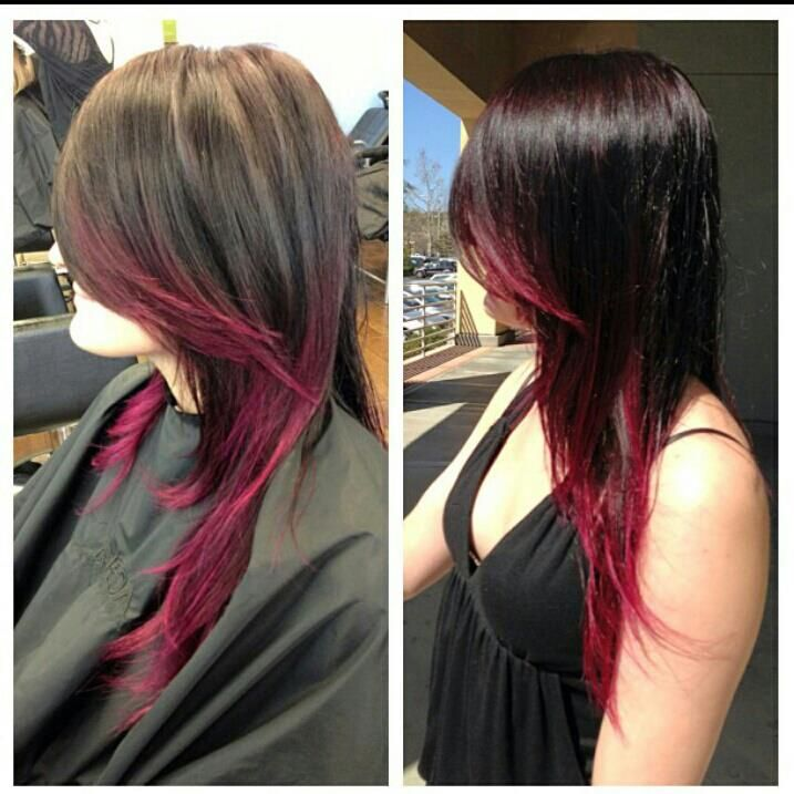 Hair By Jenny Jones Dark Hair Fashion Color Pink Red Ombre
