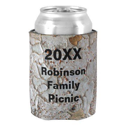 Family Picnic Rustic Tree Bark Photo Keepsake Can Cooler | Zazzle.com