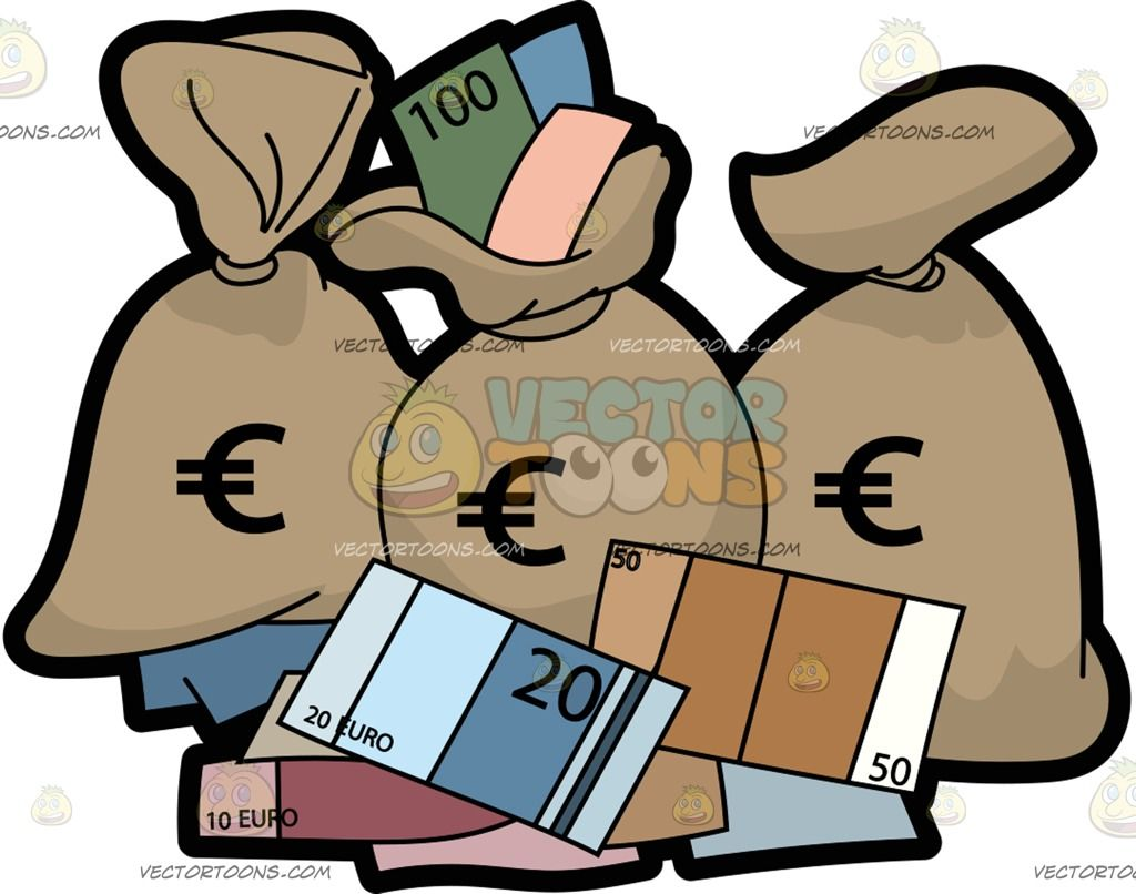 Bags and bank notes in the euro currency three full beige sack three full beige sack with a large euro currency symbol print in black surrounded by different euro banknotes biocorpaavc Gallery
