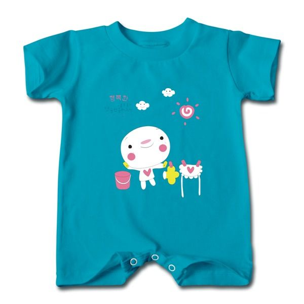 Korean Cartoon Turquoise Cute T-romper For Baby No Minimums-Funny Clothing shop from HICustom.net .24 hour service available.