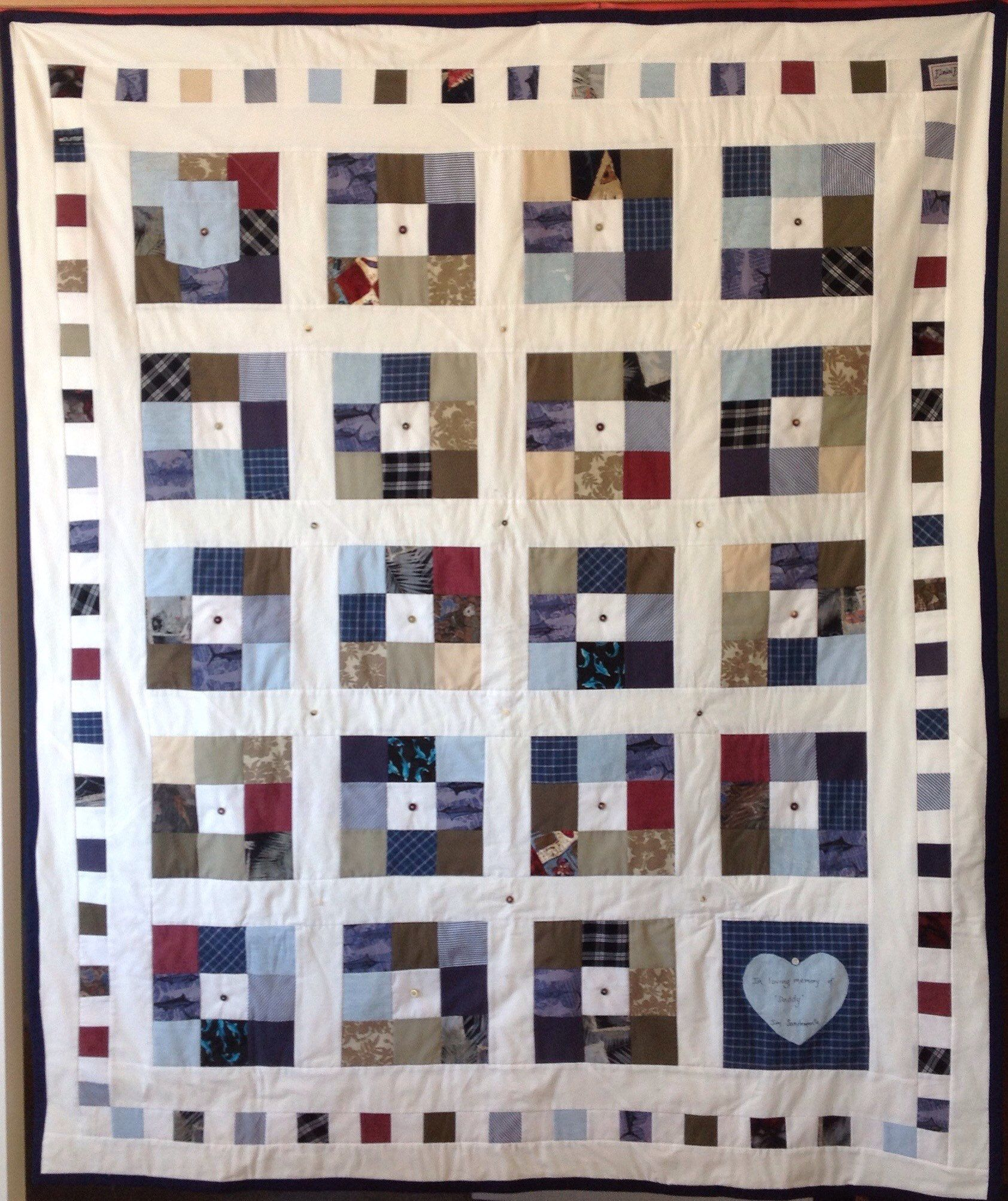 Custom Made Remembrance Memory Patchwork Quilt Blanket