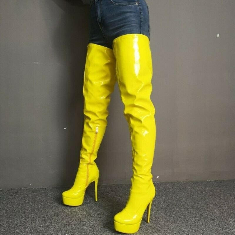 LADIES WOMENS KNEE HIGH STILETTO HEEL PLATFORM ZIP UP LEG BOOTS SHOES NEW SIZE