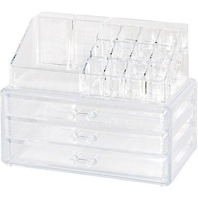 Clearly Chic Clear 19 Compartment Cosmetic Organizer Vanity Makeup Rooms Cosmetic Organizer Bathroom Decor