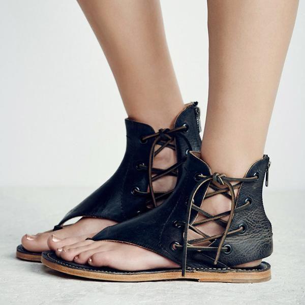 068c0850e65c01 Shoes - New Fashion Women Leisure Lace up Flat Sandals