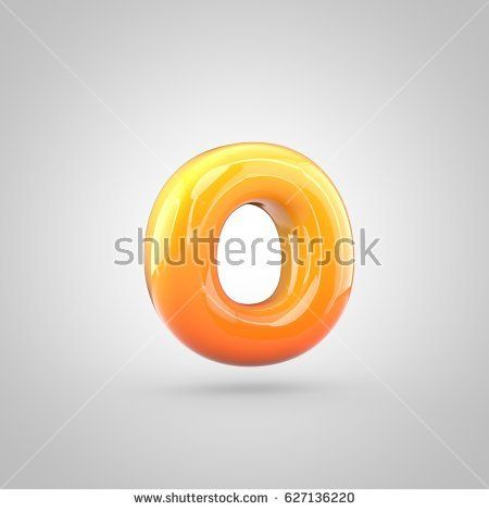 glossy orange and yellow gradient paint alphabet letter o lowercase 3d render of bubble twisted font with glint isolated on white background