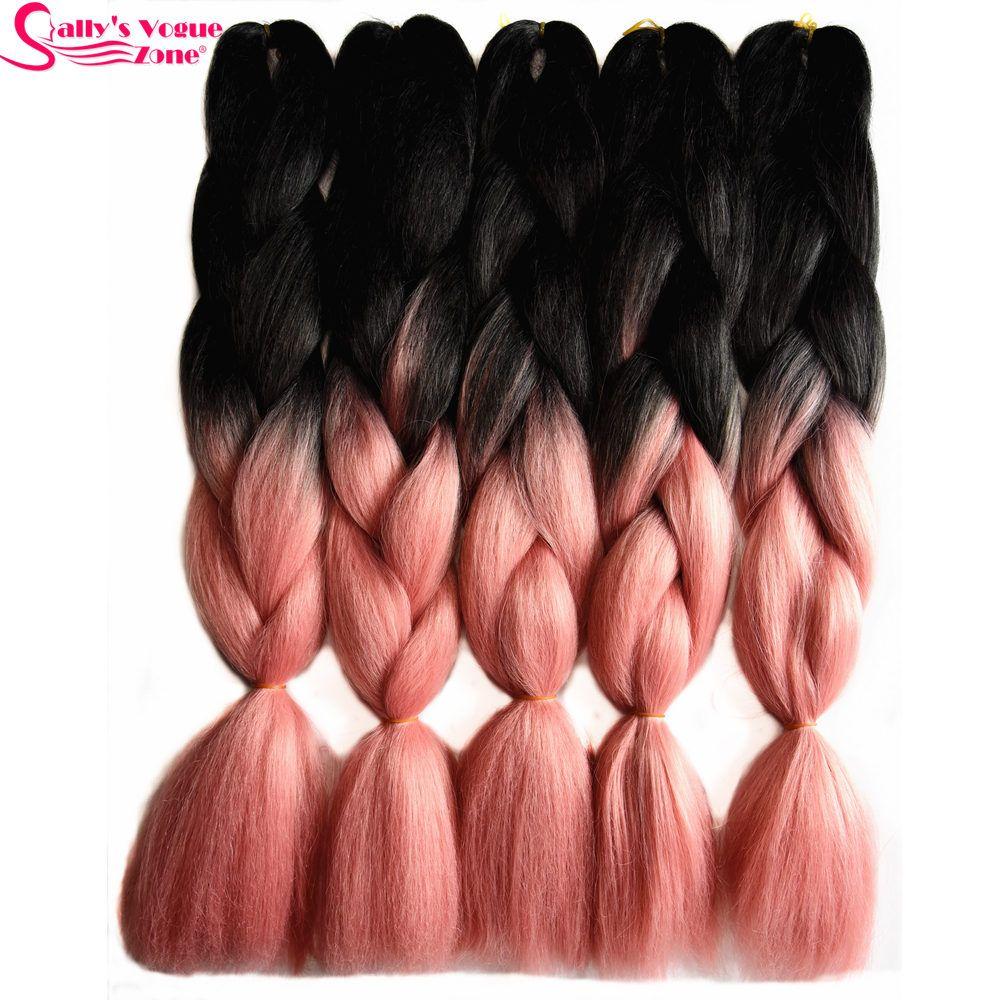Sallyhair 24inch Ombre Braiding Hair 2 Tone Black Pale