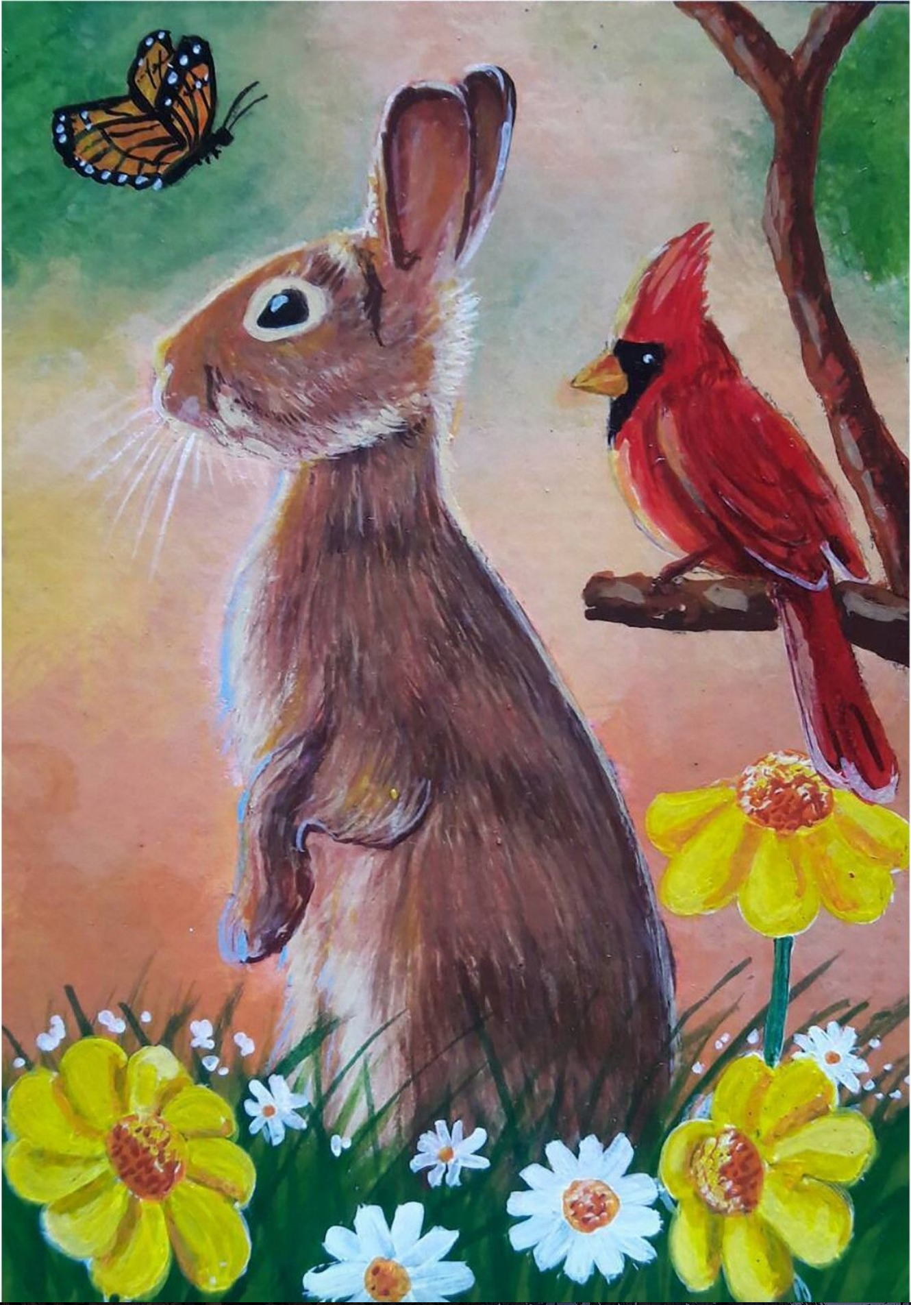 Spring Bunny  animal art from original painting by Patricia Chu ACEO limited edition art print 2.5 x 3.5 inches