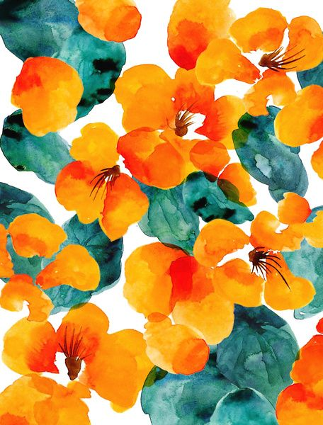 Orange And Aqua: Orange Floral, By Frameless