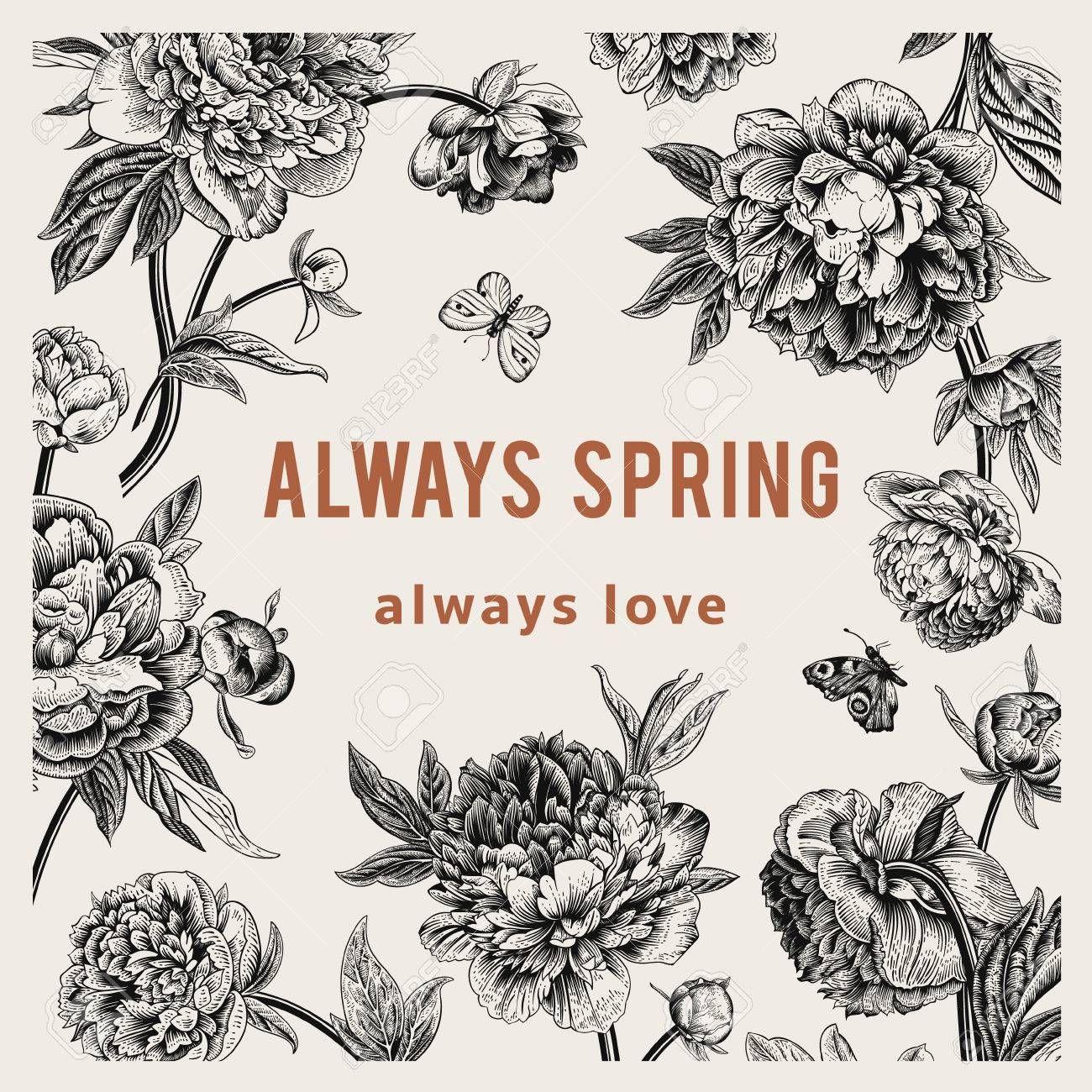 Vintage Vector Floral Card Peonies Always Spring Affiliate Floral Vector Vintage Spring Peonies Floral Cards Peonies Vintage