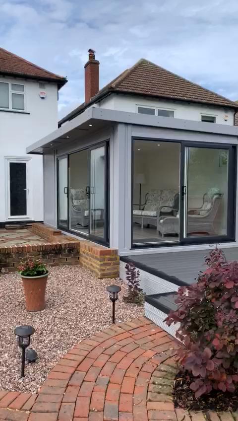 Combination Contemporary Epsom Garden Garden Garage Ideas Room Surrey Tour Video In 2020 Garden Room Upvc Sliding Doors Outdoor Kitchen Design