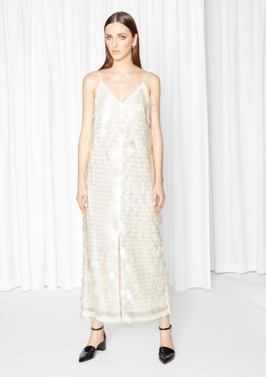 Maxi Sequin Dress Off White