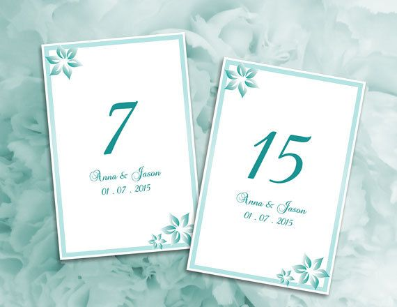 Wedding Table Numbers Microsoft Word Template Green Turquoise