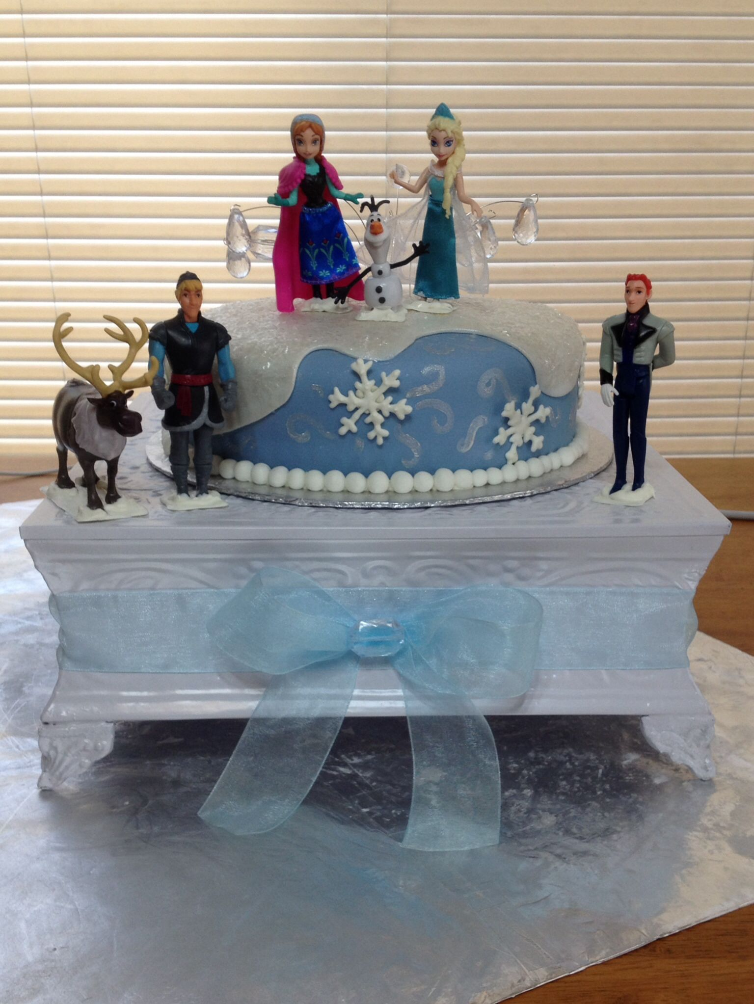 Frozen themed birthday cake Two 9 inch cake pans covered in