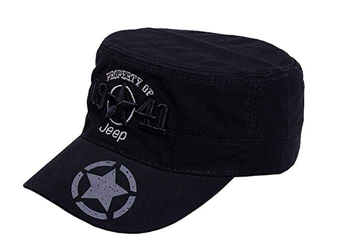 42a499ff Jeep 1941 Embroidered Star Cotton Cadet Army Cap Cotton Twill Military  Corps Hat Flat Top Cap Review