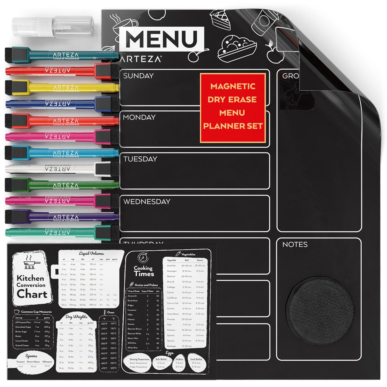 16 x 12 Magnetic Dry Erase Refrigerator Calendar Board Monthly Planner Black Set