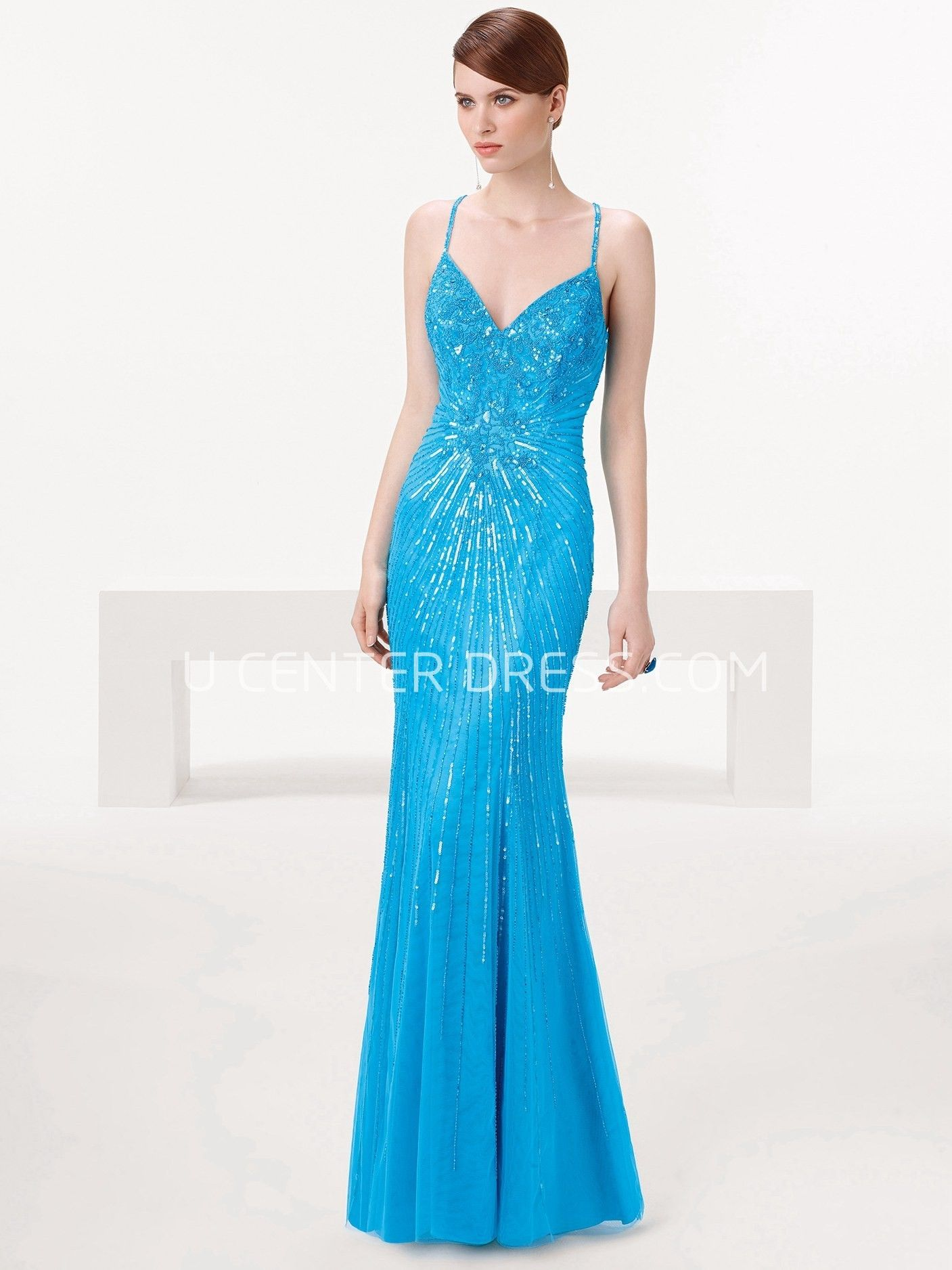 Sheath Sleeveless Spaghetti Maxi Sequins Prom Dress | Sequin prom ...