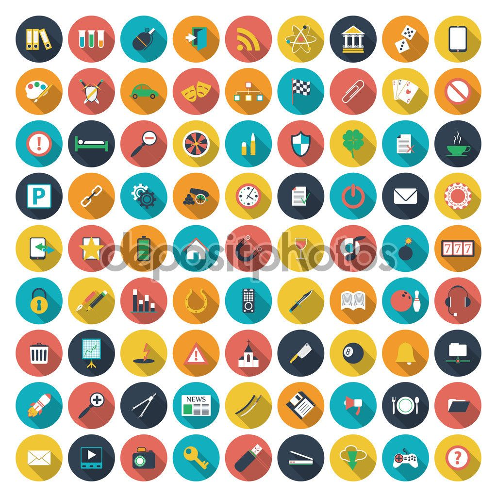 Moderne flach Icons Vektor-Auflistung mit lange Schatten-Effekt in stilvollen Farben von Web-Design-Objekte, Business, Büro und Marketing-Elemente. Vektor-illustration — Stock Illustration #55759597
