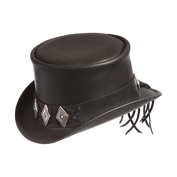 bc2eccf8782 Steampunk El Dorado Leather Top Hat with Concho Band ( 217) ❤ liked on  Polyvore featuring accessories