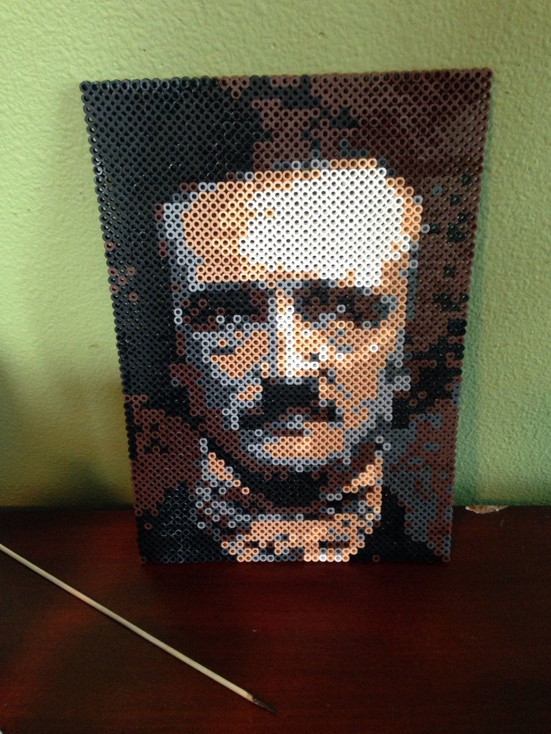 Edgar Allan Poe Portrait Perler Beads by DearGawd | Perler