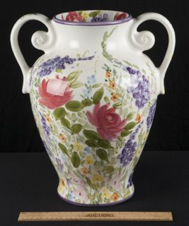 DON SWANSON FANTASY GARDEN HAND PAINTED FLOWER GARDEN DOUBLE HANDLED URN VASE. 16 INCHES TALL. EXCELLENT CONDITION.