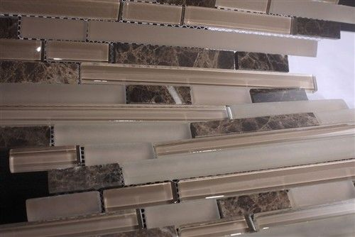 Wavy Glass Tile Backsplash Zen Leopard Skin Random Strip Glass Mosaic Tiles With Stone Blend Mosaic Tiles Mosaic Tile Sheets Glass Tile Backsplash