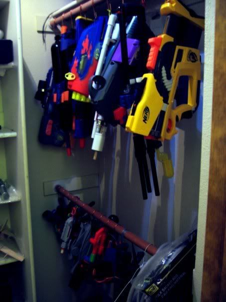 organized nerf guns! Since his clothes are always on the floor anyway might  as well