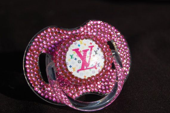 Rhinestoned Louis Vuitton Pacifier Blinky By Borntoblingboutique