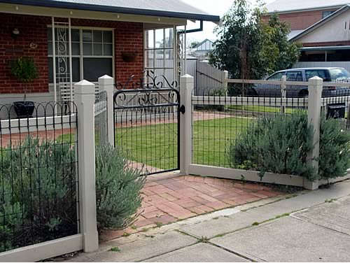 Nice example of a recessed entry gate on an ornamental welded wire ...