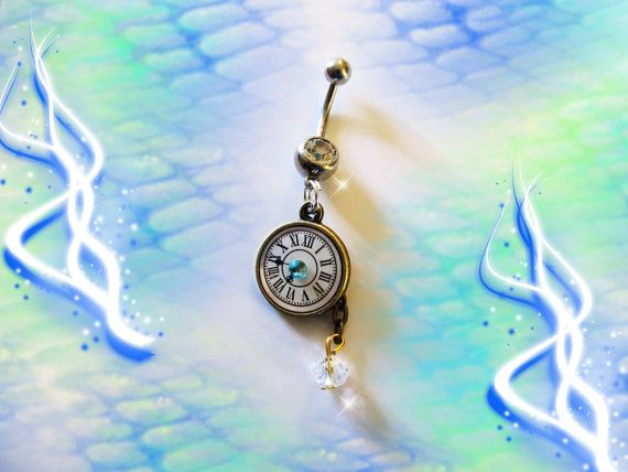 Steampunk Antique Bronze Watch Clock, Aqua Blue Crystal, & Dangling Swarovski Crystal Belly Button Ring, Steam punk Jewelry For women-Teens on Etsy, $8.99