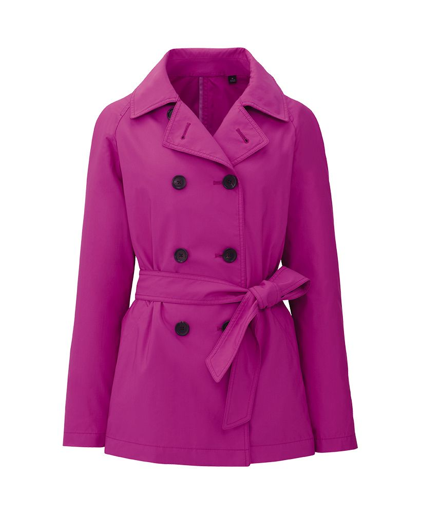 magenta (or dark pink?) trench coat.