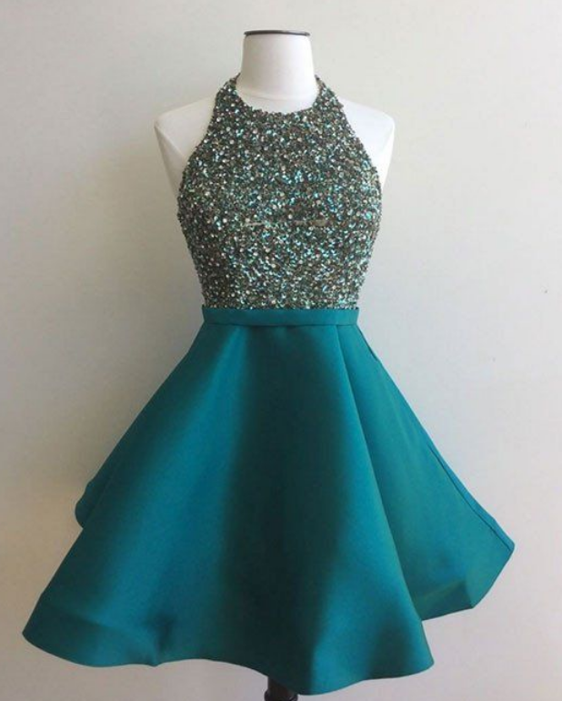 Sequin Short Green Prom Dress, Homecoming Dress