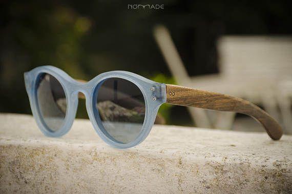 73e57e5c79 Blue Sunglasses acetate and wood eyewear model Santorini