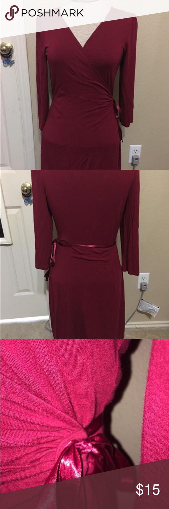 Express wrap dress beautiful comfy casual elegant red wrap dress
