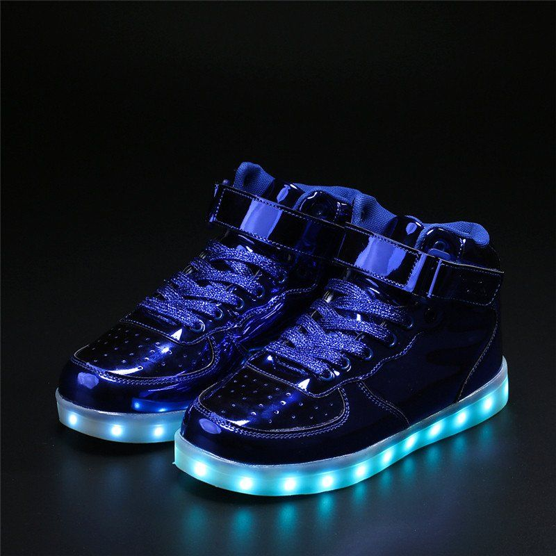 Flash LED girls boy Toddler child Light Up Trainers Lace Up Shoes Disco Luminous