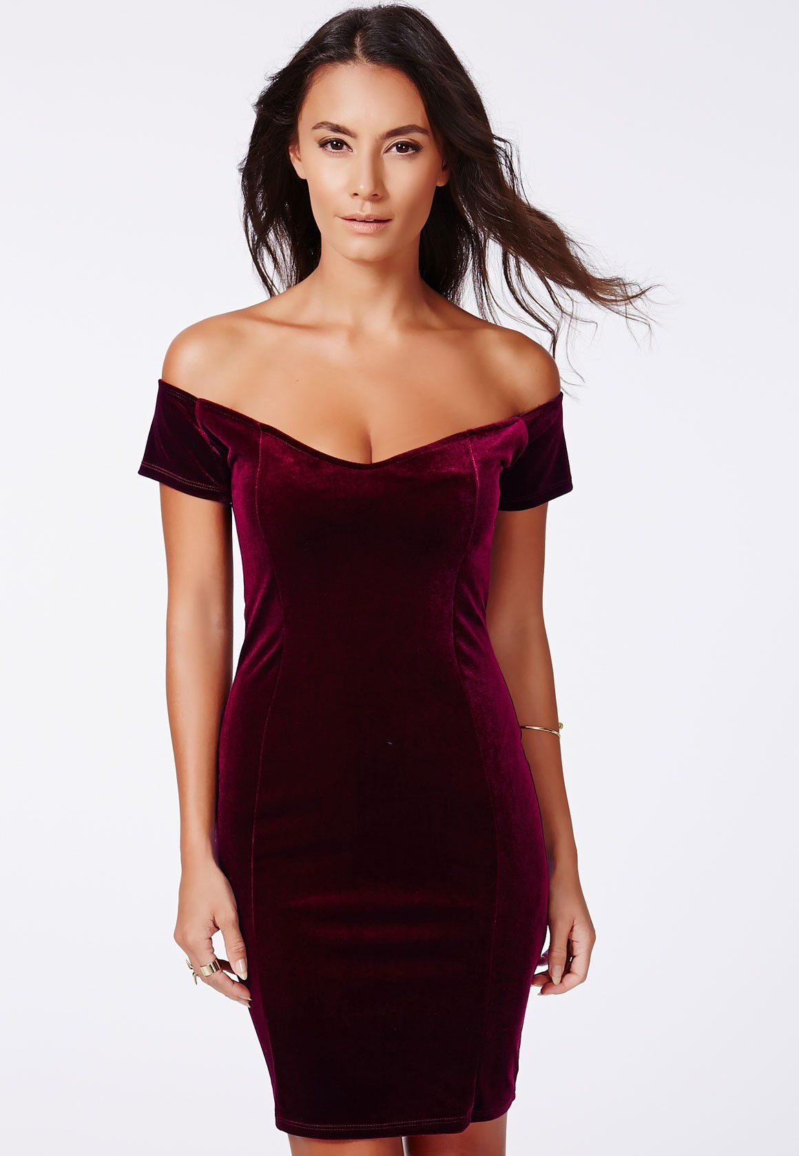 Shop Wine Red Off The Shoulder Bodycon Dress online. Sheinside offers Wine Red  Off The