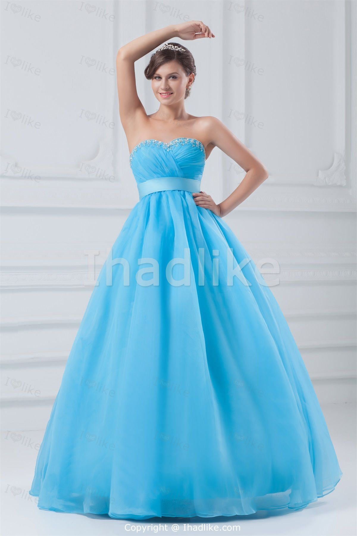 Most Beautiful Empire Blue Sleeveless Floor-Length Prom Dresses ...